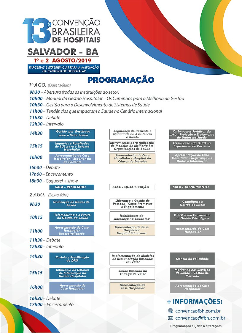 ROGRAMAÇÃO PALESTRAS CONVENÇÃO BRASILEIRA HOSPITAIS SALVADOR.